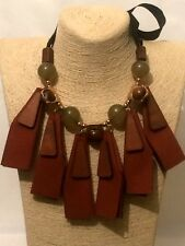 Womens Ladies Statement Long Brown Wood Faux Leather Beaded Chain Bib Necklace