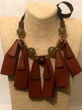 Mujer señoras declaración largo madera marrón cuero de imitación con cuentas cadena Collar estilo Babero