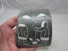 1986 DIMU, carved stone. Beaver Creek . Yukon Territory. Eskimos ice fishing