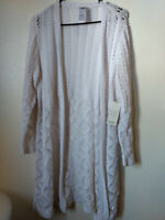 NWT Beautiful Chico's Stitch Open Front Cotton Cardigan Sweater Sz=2 PETITE