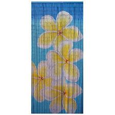 Bamboo Beaded Door Curtain - Blue Frangipani ~ Room Divider ~ Wall Art