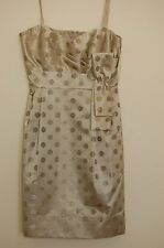 NWT ELIZA J Polka Dot Satin Dress Size 8 Metallic Prom Cocktail Pockets $120