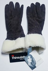Jaclyn Smith Leather Suede Winter Gloves 3M Thinsulate Lined