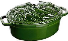 Staub Gemüse-Cocotte Bräter Gemüsetopf Topf Kochtopf basilikumgrün29cm Gusseisen