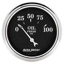 "Auto Meter Oil Pressure Gauge 1727; Old Tyme Black 0-100 psi 2-1/16"" Electrical"