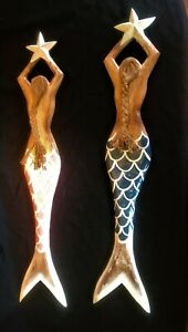 Large Hand Made Wooden Mermaid Wall Art