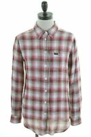 LEE Womens Shirt Size 6 XS Red Check Cotton Loose Fit  GP10