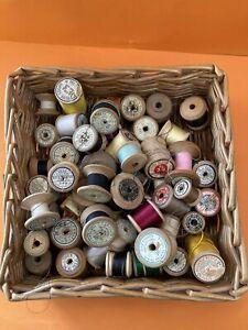 Job Lot - Over 50  Vintage Wooden Cotton Reels