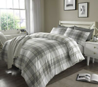 Luxury Check Grey Duvet Cover Sets with Pillow Case Single Double King Super