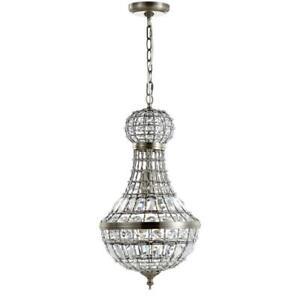 Vintage Crystal Pendant Chandelier Antique Brass Metal Finish Chic Home Decor
