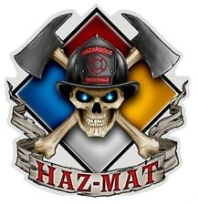 HAZARDOUS MATERIALS - FIREFIGHTER - SCULL STICKER / DECAL