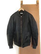 Helmut Lang Mens Size Small Nylon Mesh Bomber Jacket in Black/Charcoal