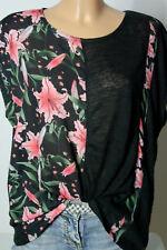 TOM TAILOR Top Gr. S schwarz mit rosa Blumen Fledermaus Blusen Strick Top