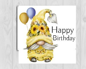 Birthday Card gonk gnome  blank sunflowers mum, daughter niece
