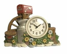 Vintage Burwood Mailbox Garden Milk Tin Farm Nature Kitchen Wall Clock