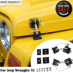 Fit Jeep Wrangler TJ 1997-2006 Engine Cover Hood Latch Locking Catch Bracket Kit