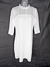 White Lace Pencil Wiggle Midi Dress Size 12 3/4 Sleeves Summer Dress Holiday