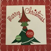 Vintage Mid Century Christmas Greeting Card Fold Out Tree Ornaments Garland