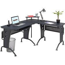 Big Reversible Gamer Corner Laptop table Piranha Furniture Graphite Black PC21g