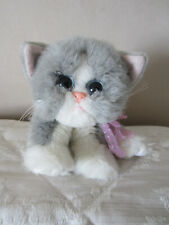 Vintage Tyco Kitty kitty Kitten Purring Soft Plush Toy Grey with Purple Bow