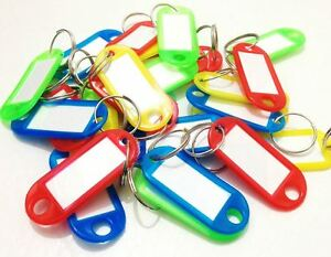 KEY TAGS Assorted Coloured Plastic split Rings with paper for ID Label Keyring