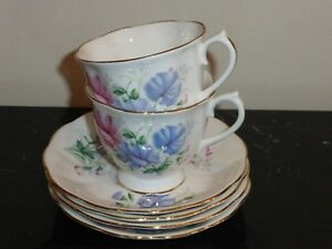 ROYAL ALBERT FRIENDSHIP SWEET PEA 2 CUPS AND 4 SAUCERS