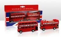 London 2 Rojo Autobús Dos Pisos Modelo de Metal 9 cm,Gran Bretaña Recuerdo,Nuevo