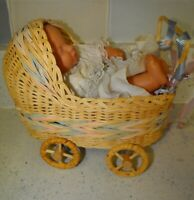 Vintage Wicker Hooded Doll Carriage Wood Wheels + Simba Toy Vinyl/cloth Doll