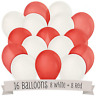 50 Red/White Helium Balloons Hot Colour Themed Party Decorations BALOONS