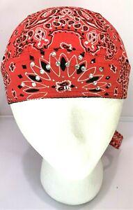 Women's Bling Red Paisley Rhinestone Head Wrap Doo Rag Skull Cap with Sweatband