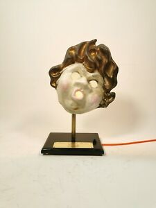 Vintage Antique Creepy Face / Theatre Mask Repurposed As Table Lamp