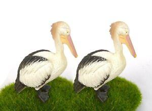 2pcs Australian Pelican Bird Lifelike Figurine Toy Fairy Garden Terrarium Decor