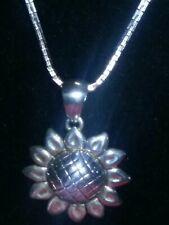 Silver Sun Flower Pendant Fashion Necklace