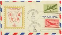 Sept 30 1946 8ct Air Mail Last Day and 5ct Air Oct 1 First Day on same cover