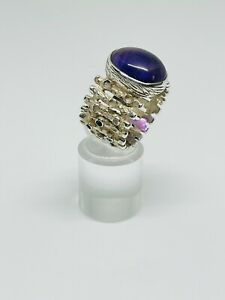 Fabolous Unusual Wide Real Amethyst Stone Ring 925 Silver Size R1/2~S #14818