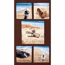 """DOG Fabric Cotton Craft Quilting Large Panel SAND SCRIBBLES Dogs 24"""" x 44"""""""