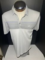 Travis Mathew TM Golf Polo Shirt Size M Short Sleeve White Gray Performance