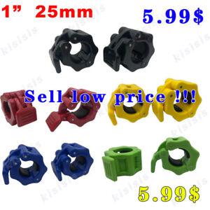 "25mm 1"" Standard Lock Pair Barbell Collar bar bell clamps Weight lifting"
