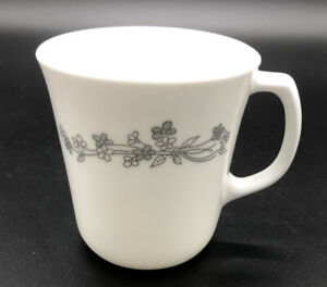 PYREX Corning White Mug w Gray Flowers Floral Pattern Glass Coffee Cup