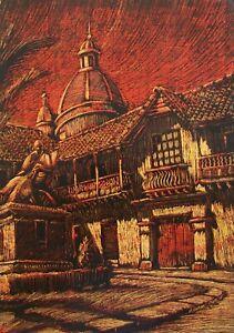 M. EDUARDO NIETO - 'Parque Cuervo' - Framed Scraped Drawing - Columbia - C.1971