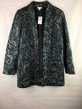 New With Tags J Jill Women's Size Medium Blazer Jacket Long Open Front Pockets