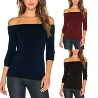 Sexy Women Boat Neck Tops Long-Sleeves Fit Stretchy Off Shoulder Clothes S-XL