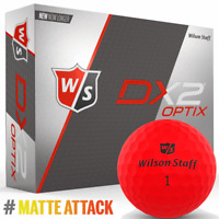 """NEW 2018"" WILSON DX2 OPTIX MATTE FINISH GOLF BALLS 12 BALL DOZEN PACK / RED"