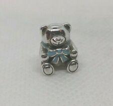Authentic PANDORA Sterling Silver Blue Enamel Bear Charm IT'S A BOY #791124EN41