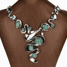 New HOT Turquoise Diamante Rhinestone Collar Statement Bib Necklace Pendant