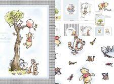 3 Options Winnie the Pooh Bear Friends Piglet Tigger Eeyore White Cotton Fabric