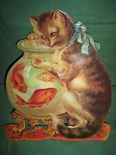 1985 Merrimack Pub Co Large CAT & GOLDFISH Victorian Picture Greeting Card NIP