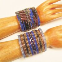 Set of 2 Blue Multi Color Wide Bling Boho Cuff Handmade Bracelets Bali Seed Bead