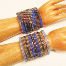 Set of 2 Blue Multi Color Wide Bling Boho Cuff Handmade Bracelets Bali Seed Bead