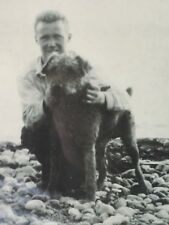 Vintage sepia photo Airedale Welsh Lakeland Terrier dog & man at Beach Framed!